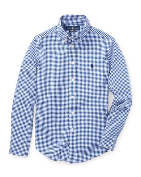 Poplin Woven Gingham Sport Shirt, Size S-XL