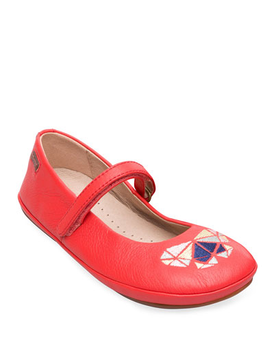 Kid's Embroidered Leather Flats  Toddler/Kids