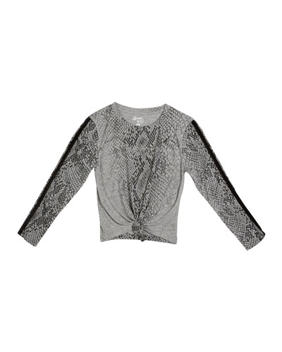 Snakeskin Print Tie-Front Top  Size S-XL