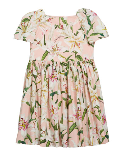 Girl's Floral Print Short-Sleeve Dress  Size 8-12