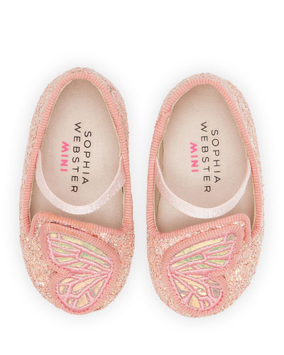 Butterfly Embroidered Chunky Glitter Flats  Baby