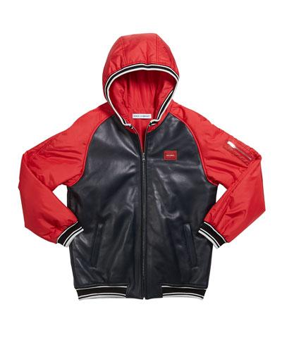 Boy's Leather Baseball Jacket  Size 8-12