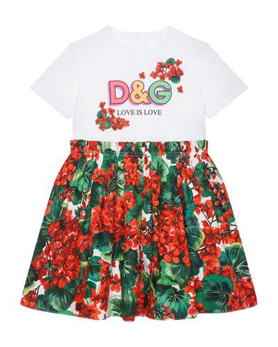 Girl's DG T-Shirt & Floral Skirt Dress  Size 12-30 Months