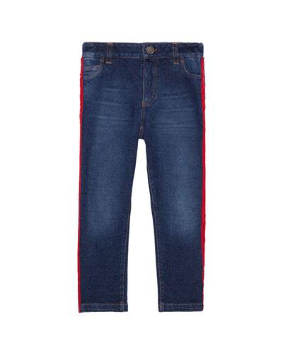 Boy's Skinny Denim Jeans w/ Side Stripe  Size 8-12