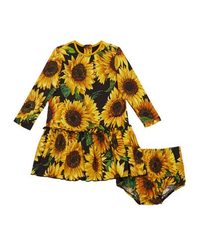 Sunflower Print Long-Sleeve Dress w/ Matching Bloomers  Size 12-30 Months