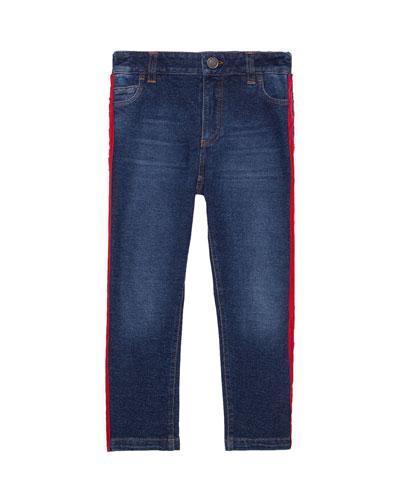 Boy's Skinny Denim Jeans w/ Side Stripe  Size 4-6