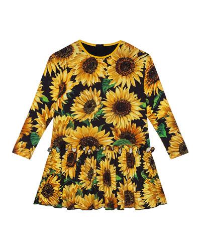 Girl's Long-Sleeve Sunflower Print Dress  Size 4-6