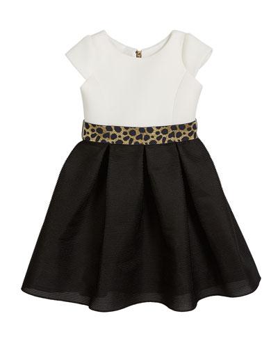 Brielle Two-Tone Knit Dress w/ Metallic Belt  Size 4-6X