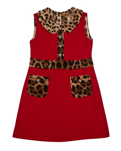 Girl's Sleeveless Dress w/ Animal-Print Trim  Size 8-12
