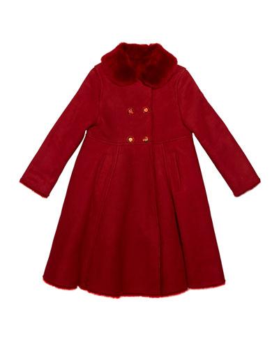 Girl's Wool Coat w/ Fur Collar  Size 8-12