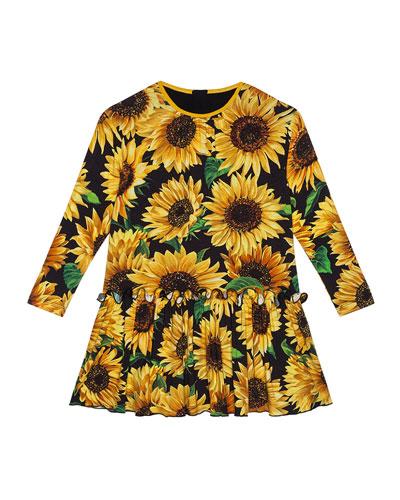 Girl's Long-Sleeve Sunflower Print Dress  Size 8-12