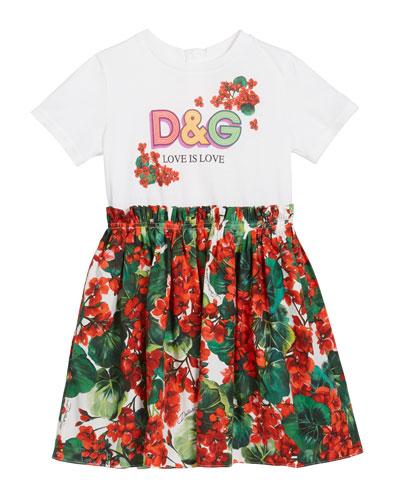 Girl's DG T-Shirt & Floral Skirt Dress  Size 4-6