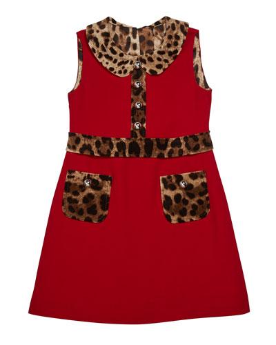 Girl's Sleeveless Dress w/ Animal-Print Trim  Size 4-6