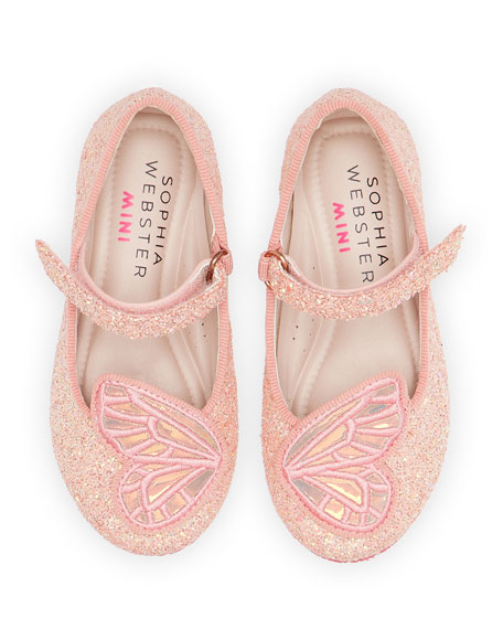 Butterfly Embroidered Chunky Glitter Flats, Baby/Toddler