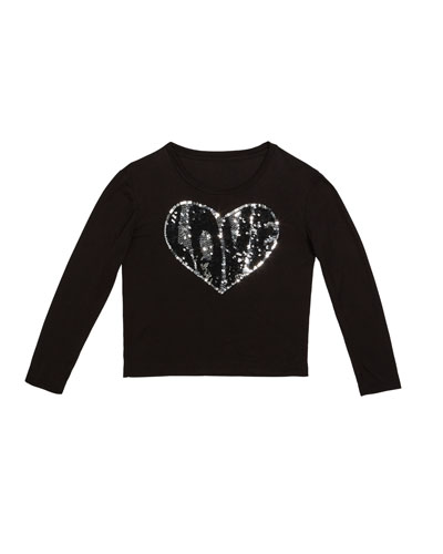 Sequin Love Heart Top  Size S-XL
