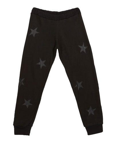 Relaxed Sweatpants w/ Faux Leather Stars  Size S-XL