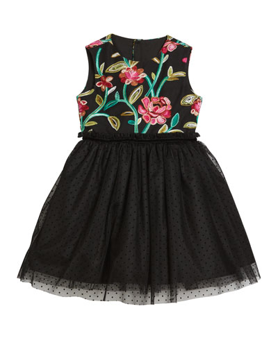 Flower Embroidered & Tulle Dress  Size 4-6X