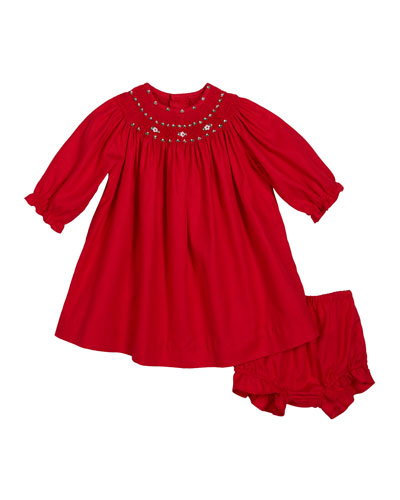 Long-Sleeve Smocked Bishop Dress  Size 3-24 Months