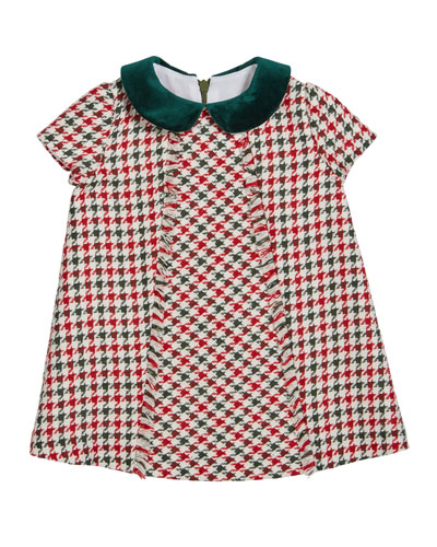 Girl's Fringe Houndstooth Dress  Size 2-6