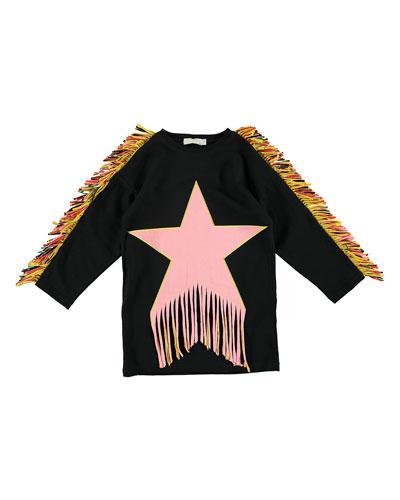Star Patch & Fringe Sweater Dress  Size 4-14