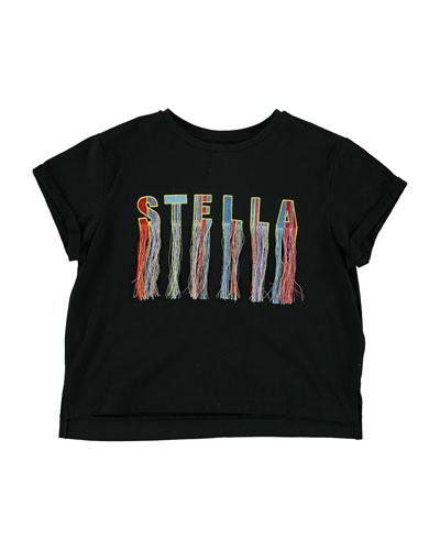 Embroidered Logo & Fringe Tee  Size 4-14