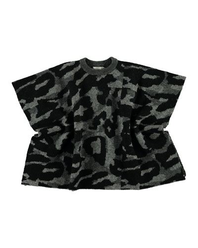 Girl's Camo Knit Cape  Size 4-14