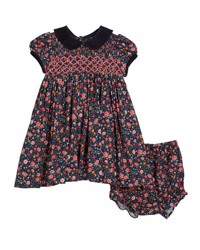 Floral Smocked Collared Dress w/ Bloomers  Size 12M-4T