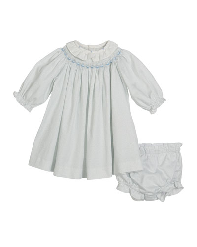 Bishop Long-Sleeve Floral Smocked Dress w/ Bloomers  Size 3-12 Months