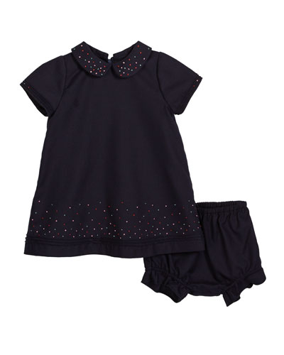 Embroidered Dot Collared Dress w/ Bloomers  Size 2-4T