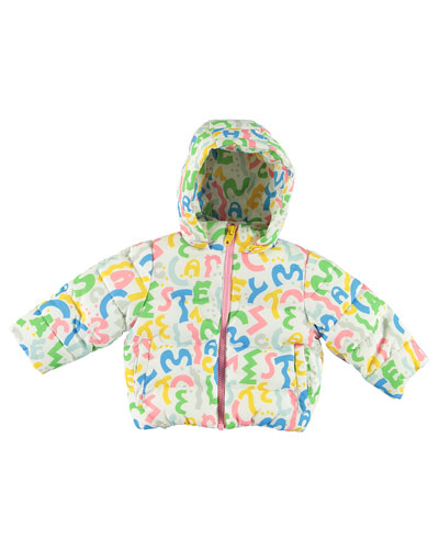 Girl's Squiggle Logo Letter Puffer Jacket  Size 12-36 Months
