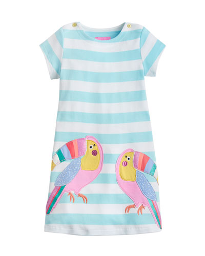 Kaye Short-Sleeve Striped Dress w/ Toucan Appliques  Size 2-6