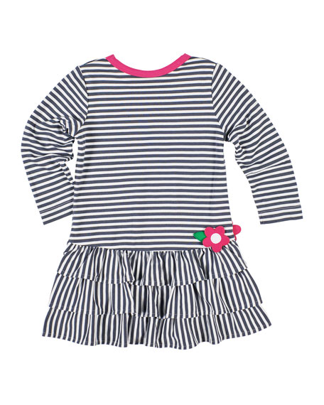 Stripe Knit Ruffle-Trim Dress, Size 2-6X