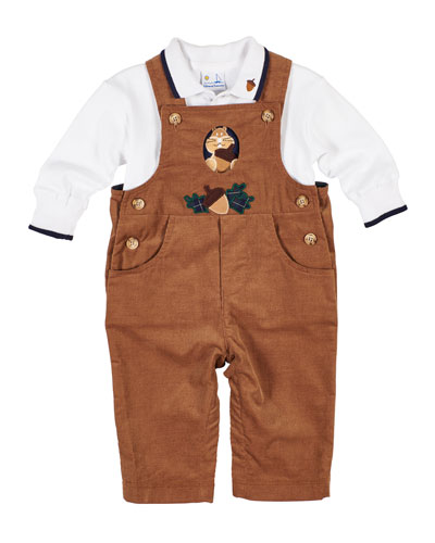 Corduroy Squirrel & Acorn Overalls w/ Long-Sleeve Polo Top  Size 6-18 Months