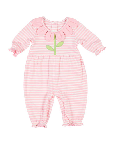 Stripe Knit Coverall w/ Flower Petal Collar  Size 3-24 Months