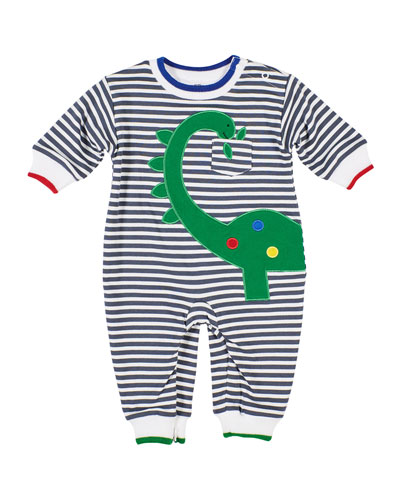 Stripe Knit Coverall w/ Dinosaur Applique  Size 6-24 Months