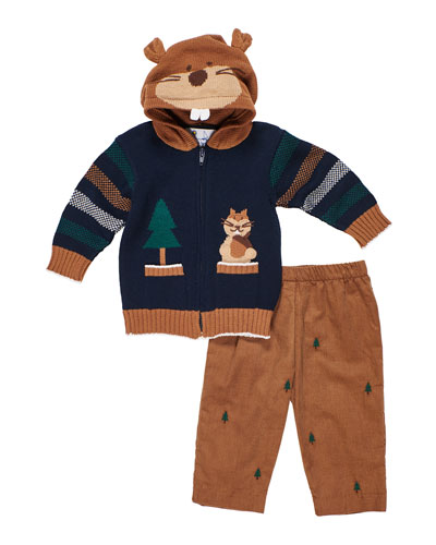Hooded Zip-Up Squirrel Sweater w/ Tree Embroidered Pants  Size 12-24 Months