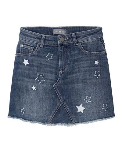 Girl's Jenny Star Embroidered Denim Skirt  Size 7-16