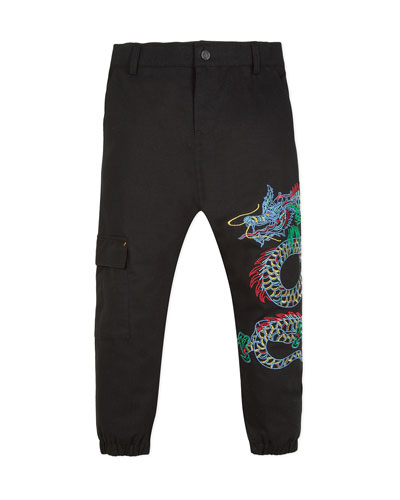 Japanese Dragon Embroidered Cargo Pants  Size 8-12