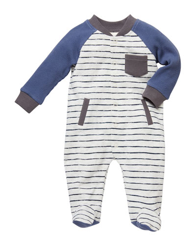 Striped Baseball-Sleeve Coverall Footie  Size 3-9 Months