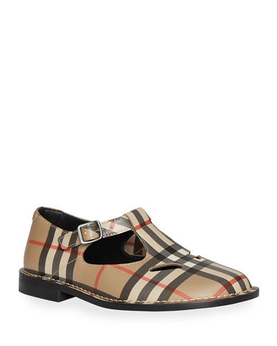 Mini Kipling Checked Leather Mary Janes  Toddler/Kids