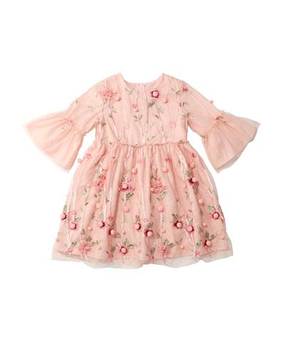 3D Flower Pompom Embroidered Dress  Size 4-8