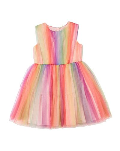 Rainbow Tulle Sleeveless Dress  Size 4-8