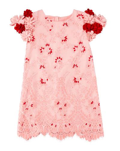 Lace Dress w/ 3D Felt Flower Sleeves  Size 10-12