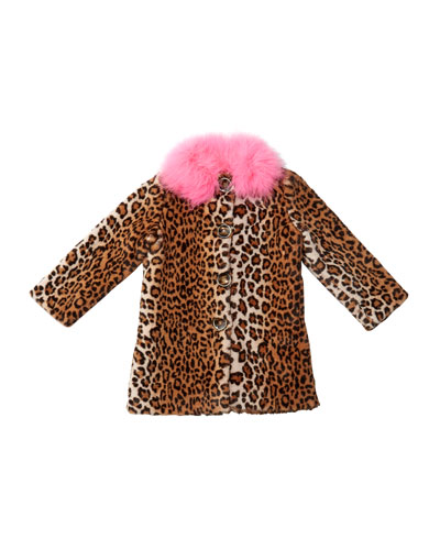 Nala Leopard Print Faux Fur Coat  Size 4-8