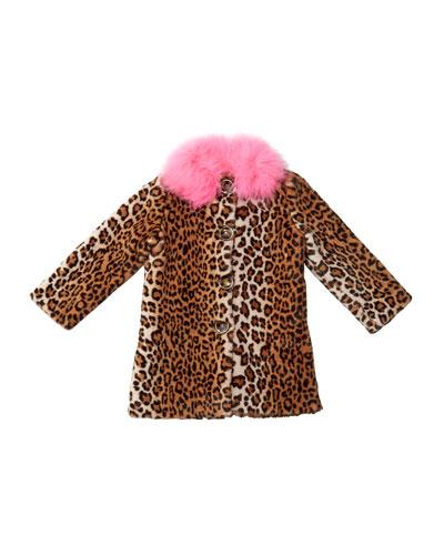Nala Leopard Print Faux Fur Coat  Size 10-12
