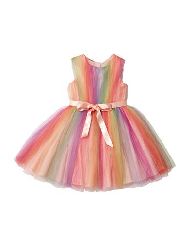Rainbow Tulle Sleeveless Dress  Size 10-12