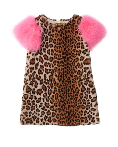 Nala Leopard Print Faux Fur Dress  Size 4-8