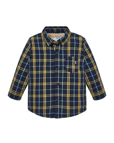 Long-Sleeve Plaid Button-Front Shirt  Size 12-36 Months