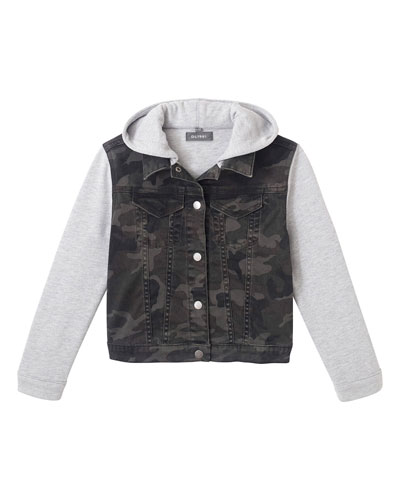 Boy's Manning Camo Jacket w/ Jersey Hood & Sleeves  Size 3-6X