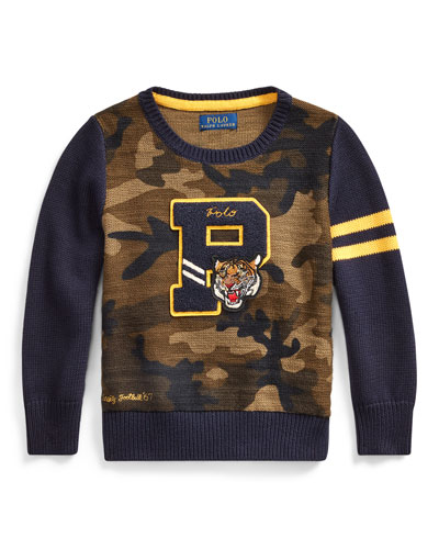 Camo Letterman-Style Sweater  Size 2-4